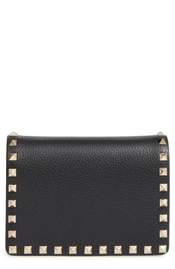 VALENTINO GARAVANI Rockstud Leather Wallet on a Chain
