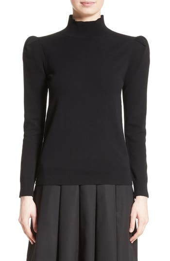 Co Cashmere Puff Shoulder Turtleneck Sweater