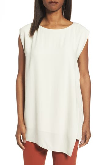 Eileen Fisher Asymmetrical Silk Tunic (Regular & Petite)
