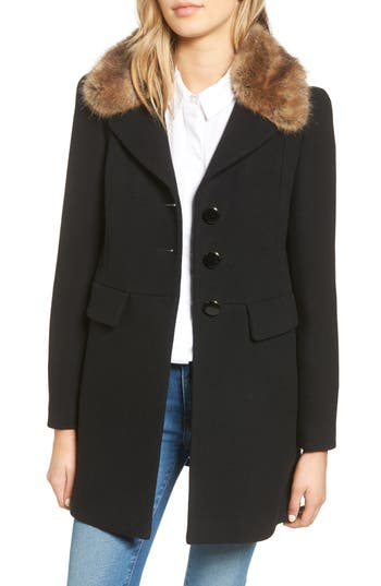 kate spade new york peacoat with faux fur trim