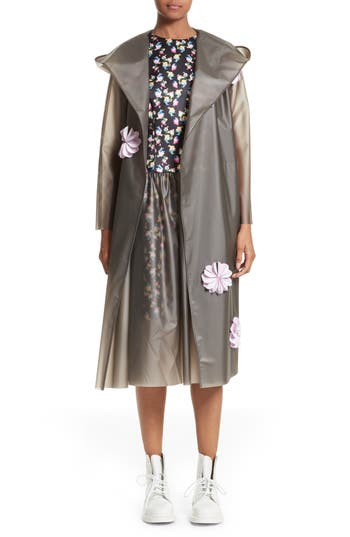 PASKAL Reflective Flower Trim Vinyl Raincoat