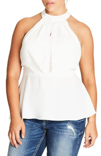 City Chic Over Shadow Peplum Top (Plus Size)