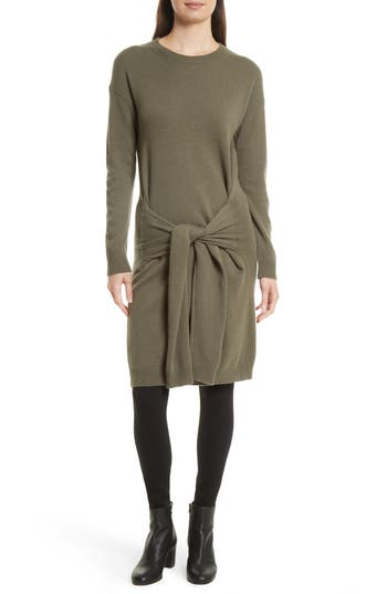 Vince Long Sleeve Tie Waist Sweater Dress