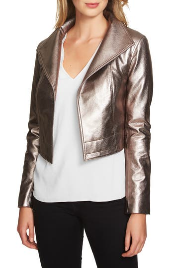 1.STATE Crop Faux Leather Jack..