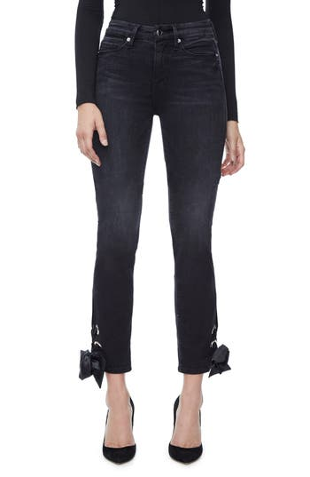 Good American Good Straight Ankle Lace Skinny Jeans (Black 010) (Extended Sizes)