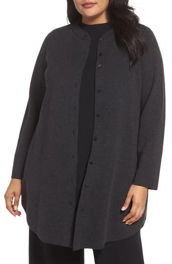 Eileen Fisher Mandarin Collar Merino Cardigan (Plus Size)