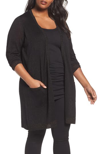 Sejour Long Sparkle Cardigan (Plus Size)