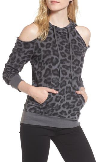 Splendid Leopard Print Cold Shoulder Hooded Sweatshirt