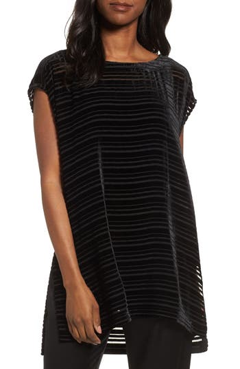 Eileen Fisher Velvet Stripe Burnout Tunic