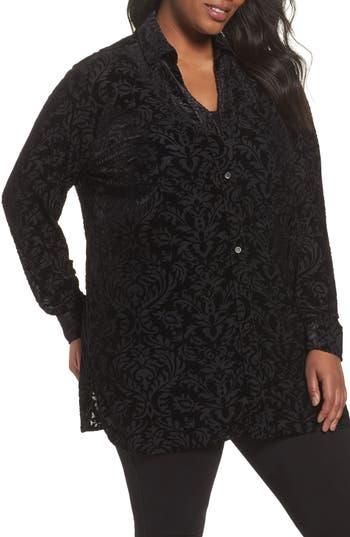 Foxcroft Jade Velvet Burnout Blouse (Plus Size)