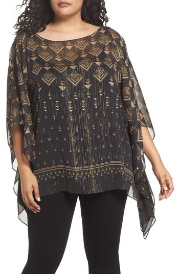 Vince Camuto Deco Highlights Panel Print Top (Plus Size)