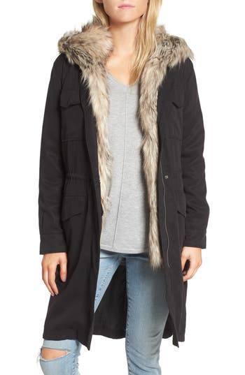 BB Dakota Walsh Tencel® Coat with Detachable Hooded Faux Fur Vest