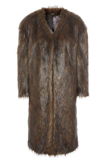 Topshop Longline Faux Fur Coat