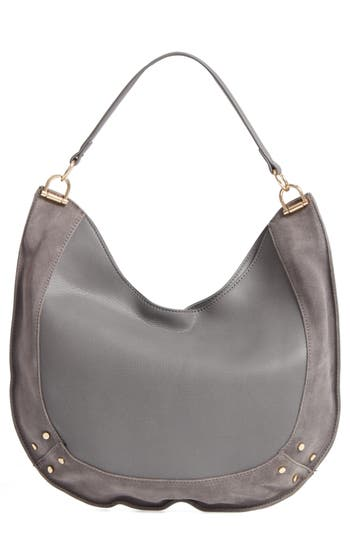 Sole Society Blaine Suede Trim Faux Leather Hobo