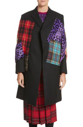 Junya Watanabe Mixed Media Patchwork Coat with Faux Fur