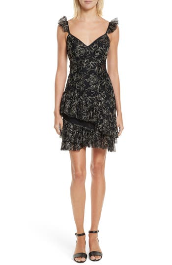 Cinq à Sept Enid Embroidered Ruffle Dress