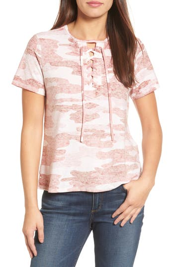 Lucky Brand Lace-Up Camo Tee