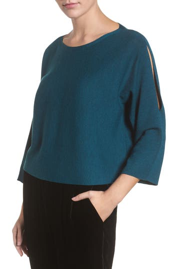 Eileen Fisher Crop Merino Wool Sweater