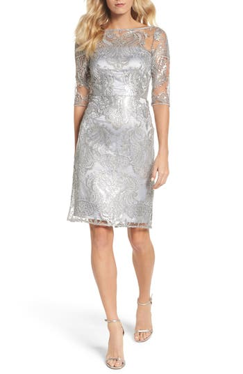 Tahari Sequin Illusion Sheath ..
