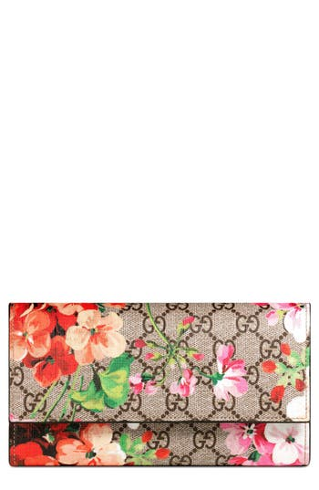 Gucci Blooms GG Supreme Canvas Continental Wallet