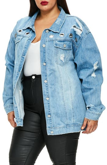 Missguided Ripped Denim Jacket (Plus Size)