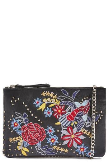 Topshop Ester Embroidered Leather Shoulder Bag