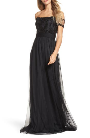 Review of Amsale Ireland Embellished Off The Shoulder Gown