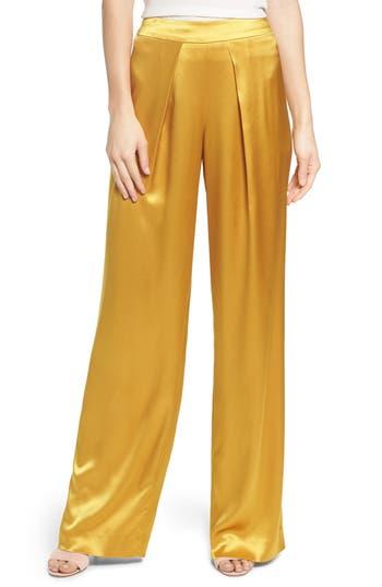 1a55120b54a56d Siobhan Mustard Satin Wide Leg Trousers   2019 trends   xoosha