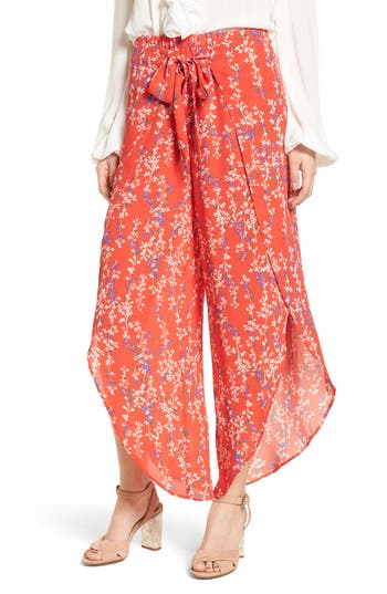 Floral Tie Front Split Hem Pants by Moon River