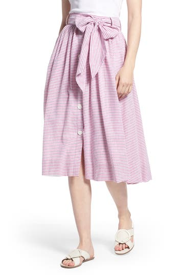 Bow Button Up Stripe Skirt by 1901
