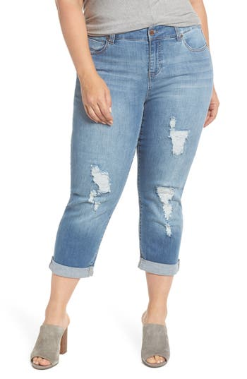 Ripped Crop Boyfriend Jeans by Liverpool Jeans Company