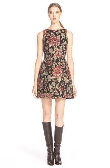 Alice Olivia Darla Bateau Neck Fit Amp Flare Dress