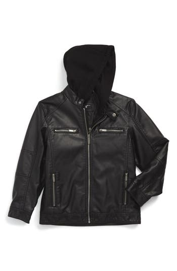 Black Rivet Faux Leather Hooded Jacket Toddler Boys