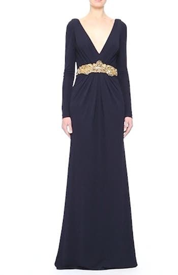 Couture Embellished Waist Plunging V-Neck Jersey Gown, video thumbnail