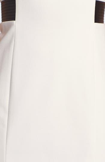 Alternate Image 3  - Calvin Klein Faux Leather Trim Ponte Sheath Dress (Online Only)