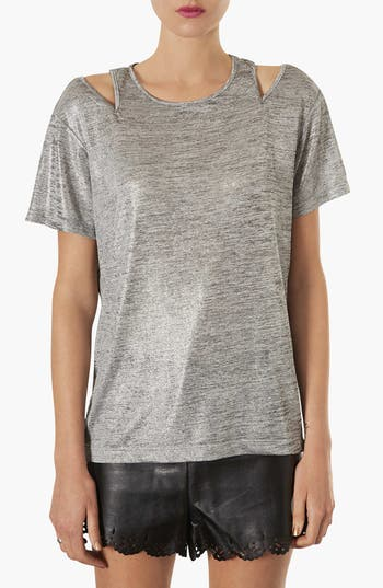Alternate Image 1 Selected - Topshop Metallic Split Shoulder Tee