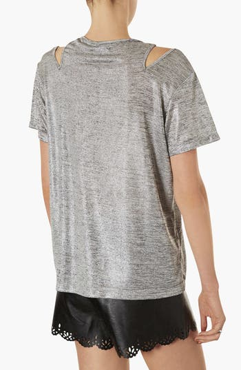 Alternate Image 2  - Topshop Metallic Split Shoulder Tee