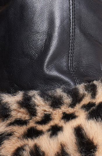 Alternate Image 2  - Surell Leather Gloves with Faux Fur Cuffs