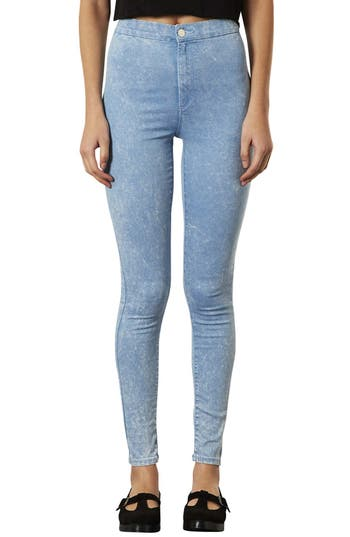 Alternate Image 1 Selected - Topshop 'Joni' Acid Wash High Rise Skinny Jeans (Blue Acid) (Short)
