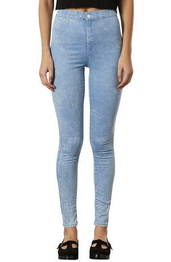 Main Image - Topshop 'Joni' Acid Wash High Rise Skinny Jeans (Blue Acid) (Short)