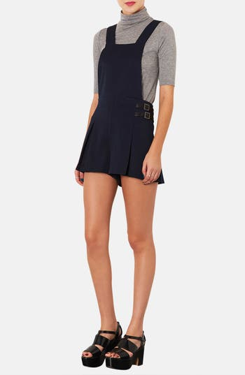 Alternate Image 1 Selected - Topshop Textured Pinafore Romper