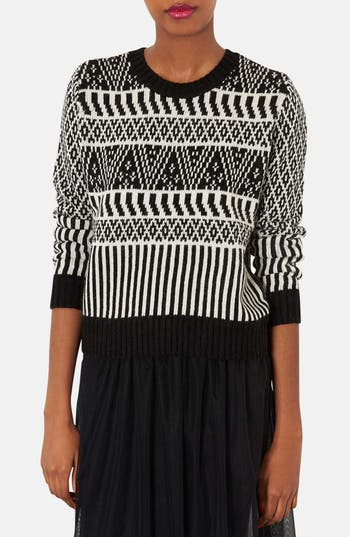 Alternate Image 1 Selected - Topshop Two-Tone Jacquard Sweater
