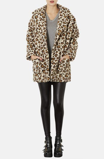 Alternate Image 4  - Topshop Leopard Borg Coat