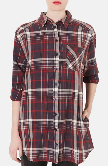 Main Image - Topshop Check Print Oversized Cotton Shirt