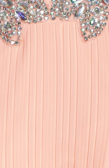 Alternate Image 3  - Way-In Embellished Neck Chiffon Halter Dress (Juniors) (Online Only)