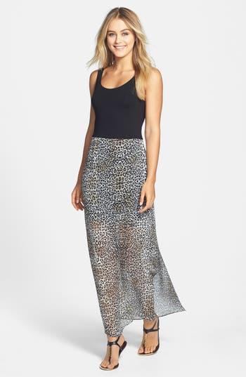 Vince Camuto Leopard Print Chiffon Overlay Maxi Dress