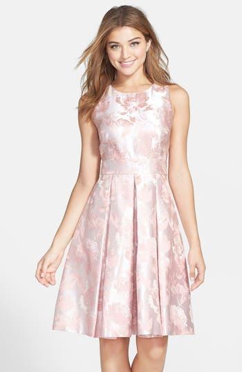 Eliza J Floral Jacquard Fit Amp Flare Dress Nordstrom
