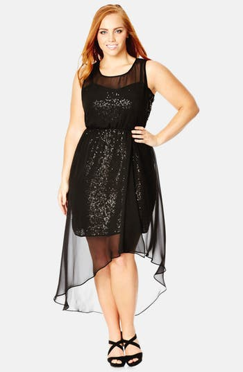 City Chic Sequin Dazzle Chiffon Overlay Dress Plus Size
