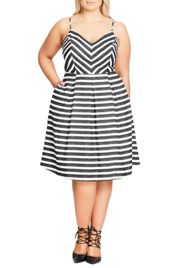 City Chic Marilyn Stripe F..