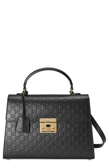Gucci Medium Padlock Top Handle Signature Leather Bag